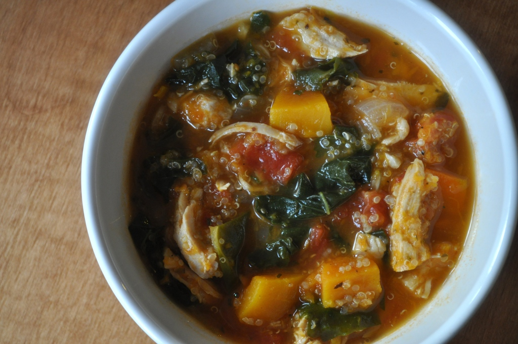 hearty chicken, butternut + quinoa stew