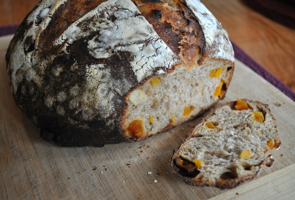 sourdough boule with apricots + almonds